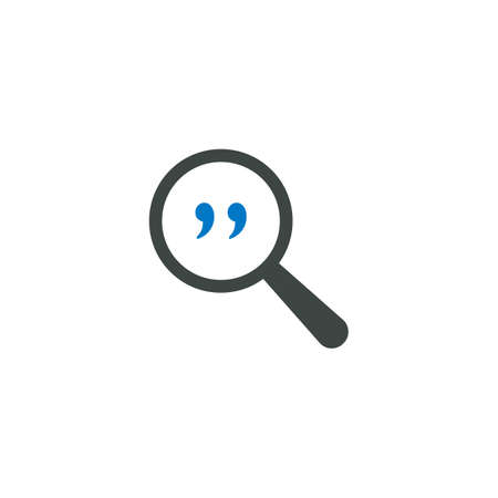 Magnifying glass icon, quotes icon vector sign illustration. Illustration