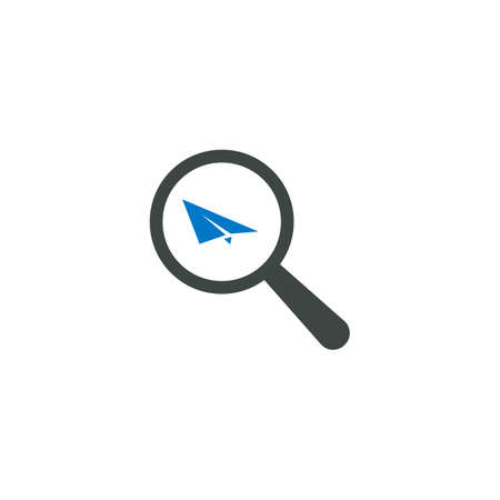 Magnifying glass icon, paper plane icon vector sign