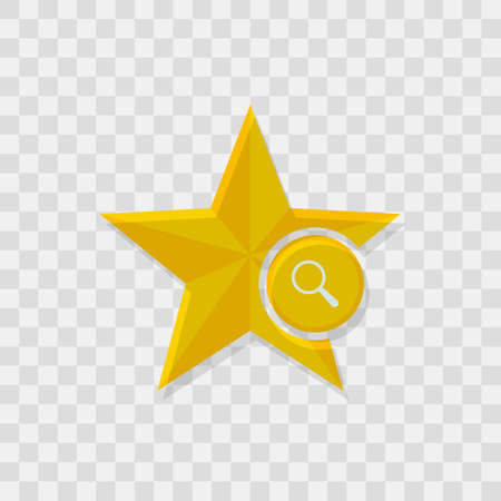 Star icon, magnifier icon.
