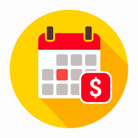 Dollar calendar day icon vector, filled flat sign, solid pictogram isolated on white. The pay day reminder symbol, logo illustration Illustration