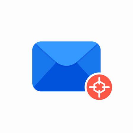 Email envelope focus letter mail message send target icon. Vector Flat illustration