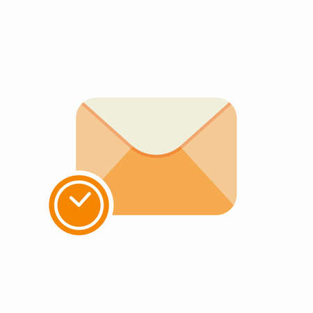 Delay email envelope mail message time icon. Vector Flat illustration Illustration