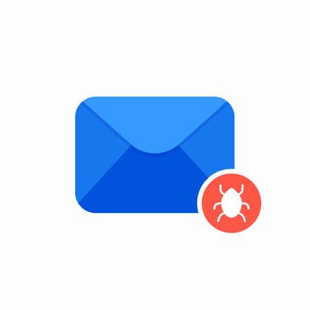 Bug email envelope mail virus worm icon. Vector Flat illustration Illustration