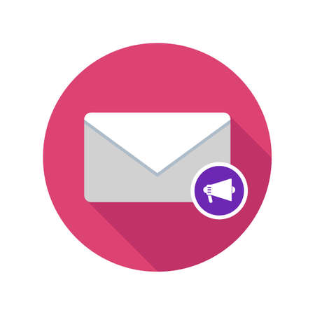 Mail reading aloud icon. Email icon with long shadow. Vector Flat Illustration Illustration
