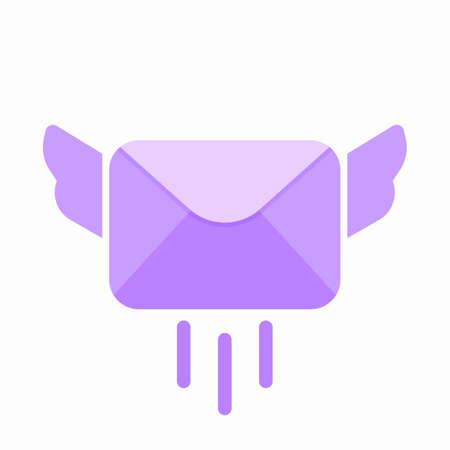 Email envelope fly letter mail message send icon. Vector Flat illustration Illustration