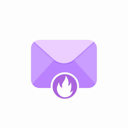 Burn email envelope flame mail spam icon. Vector Flat illustration Illustration