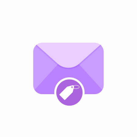 Email envelope mail mark tag icon. Vector Flat illustration Illustration