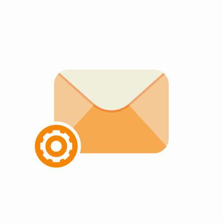 Cog email envelope letter mail message send setup icon. Vector Flat illustration