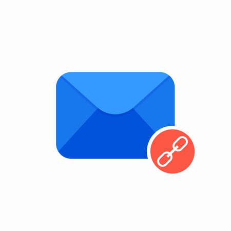 Chain email envelope link mail icon. Vector Flat illustration Illustration