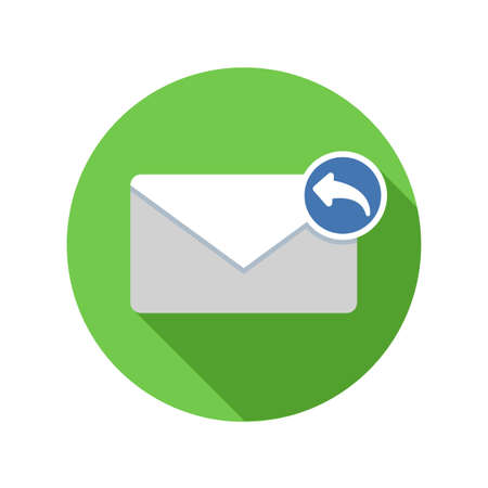 Reply mail icon. Email icon with long shadow. Vector Flat Illustration
