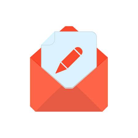 Mail symbol. Envelope icon. Edit envelope. Sign design. Vector Flat illustration