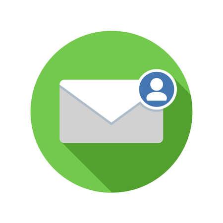 Mail afzender pictogram. E-mailpictogram met lange schaduw. Vector vlakke afbeelding
