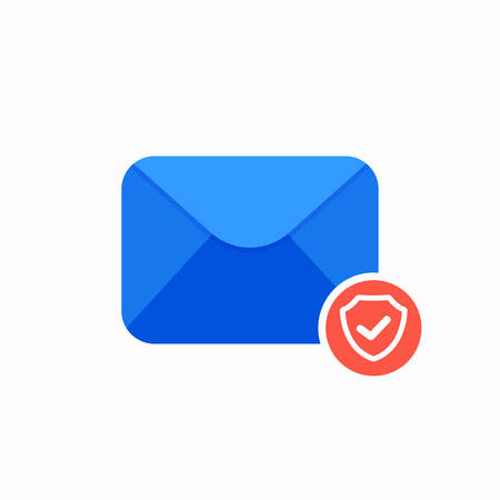 Email envelope guard mail ok safety shield icon. Vector Flat illustration