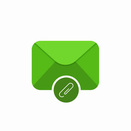 Attach attachment email mail icon. Vector Flat illustration