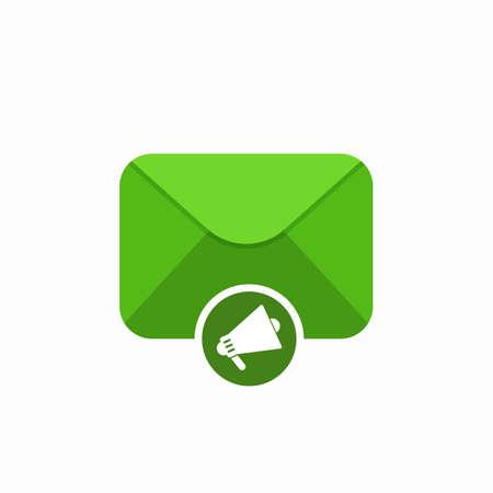 Envelope mail marketing megaphone promo icon. Vector Flat illustration Illustration
