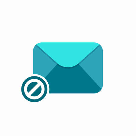 Block cancel email spam icon vector flat illustration.