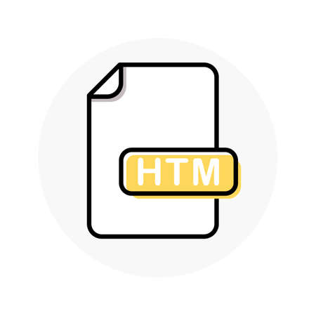 HTM file format, extension color line icon. Vector illustration