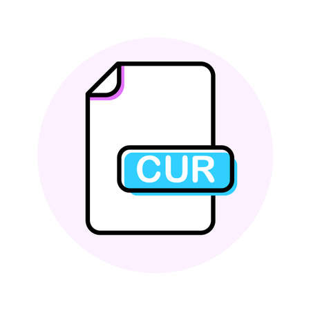 CUR file format, extension color line icon. Vector illustration Иллюстрация