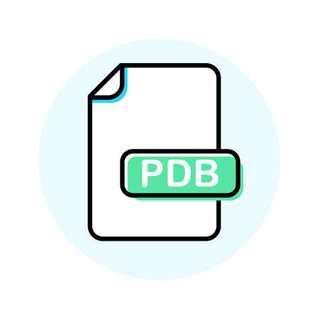 PDB file format, extension color line icon. Vector illustration