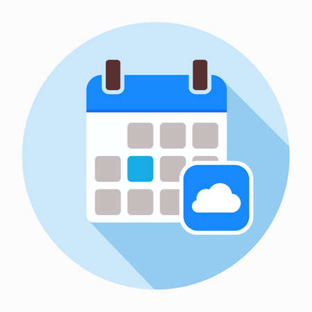 Calendar with clouds icon vector, filled flat sign, solid pictogram isolated on white. Symbol, logo illustration
