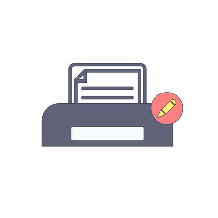Document, edit paper print with printer. Printing icon. Vector illustration.
