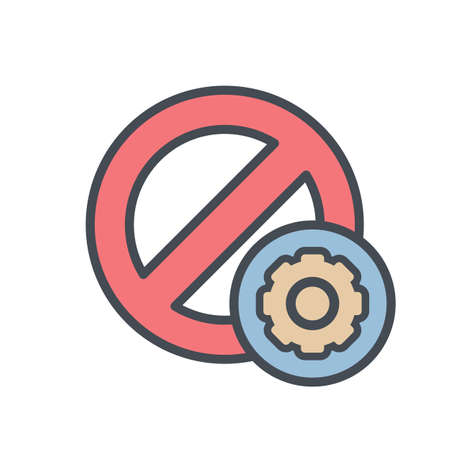 Block cancel lock settings stop icon vector illustration.