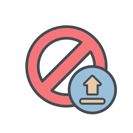 Block cancel lock stop upload icon. Vector illustration