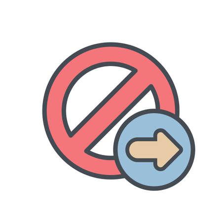 Block cancel lock next stop icon. Vector illustration