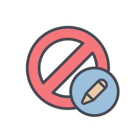 Block cancel edit lock stop icon. Vector illustration Illustration