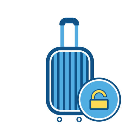 Baggage, luggage, suitcase, travel bag, unlock sign, vacation icon. Vector illustration Vettoriali