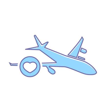 Airplane favorites flight plane transport travel icon. Vector illustration