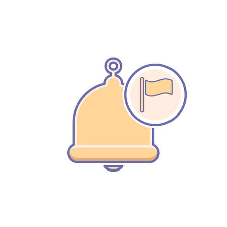 Alarm bell icon with flag, notification sign. Vector illustration