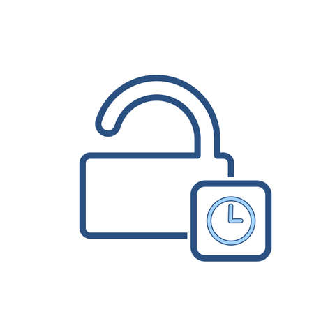 Delay lock password protection, secure time icon illustration.