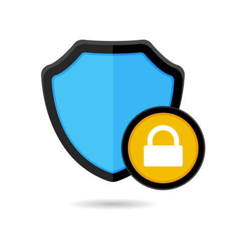 Firewall lock protection and security shield icon, isolated on white background Vector illustration