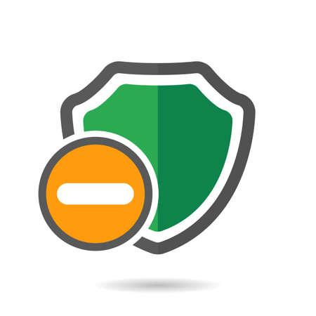 Remove shield icon vector illustration.