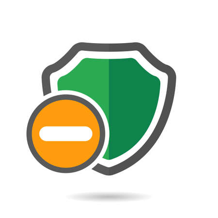 Remove shield icon vector illustration.