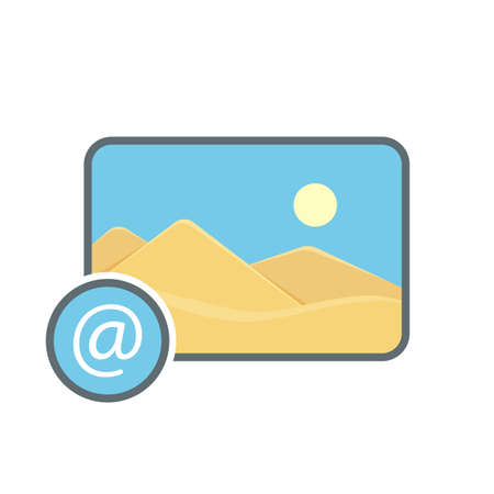 Attach  image mail photo photography picture send icon. Vector illustration Stock Illustratie