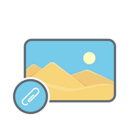 Attach image photo photography picture send icon. Vector illustration Stock Illustratie