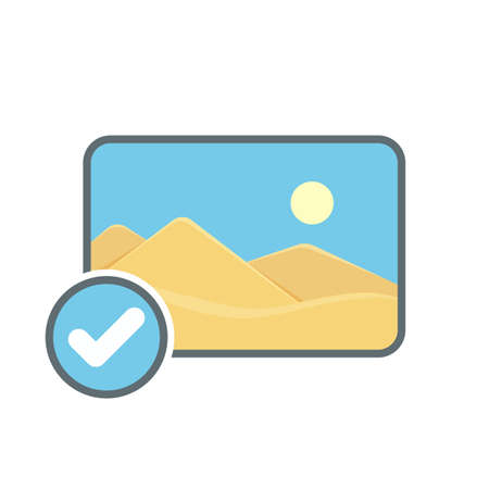 Check image photo photography picture icon. Vector illustration