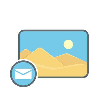Attache image mail photo photography picture send icon. Vector illustration Stock Illustratie
