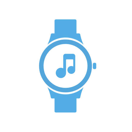 Concept music smart technology, smartwatch, watch icon Vector illustration