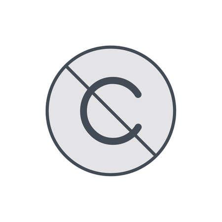 Allow copyright. No restriction right icon. Vector illustration Illustration