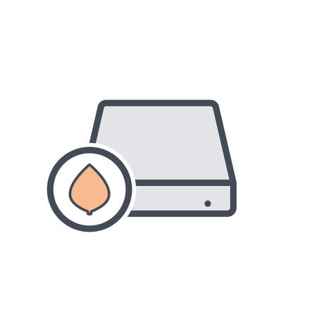 Disk drive eco hard storage icon. Vector illustration