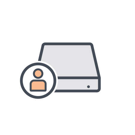 Disk drive hard storage user icon. Vector illustration