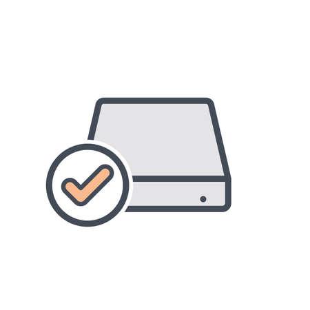 Check disk drive hard storage icon. Vector illustration