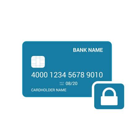 Bank card lock security icon. Vector illustration