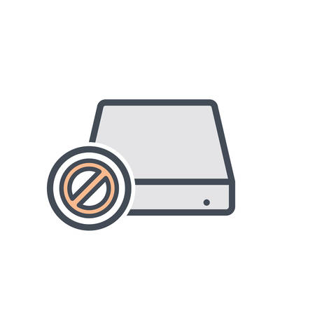 Disable disk drive error hard storage icon. Vector illustration