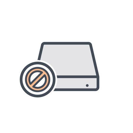 Disable disk drive error hard storage icon. Vector illustration