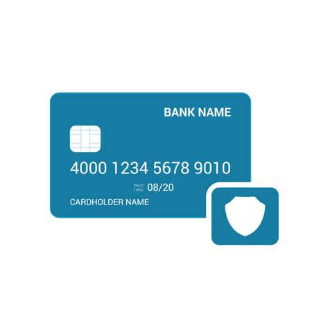 Bank card security shild icon. Vector illustration