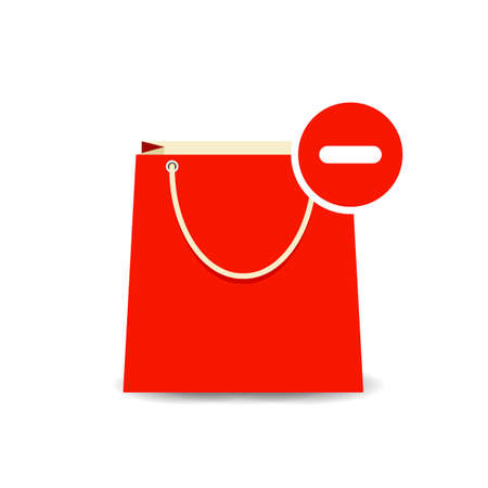 Bag buy minus paper remove shopping icon Vector illustration